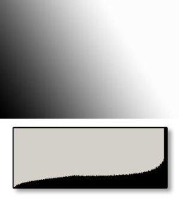 gambar skematis dari situasi yang sama, banyak pixel terang dan tidak ada yang gelap